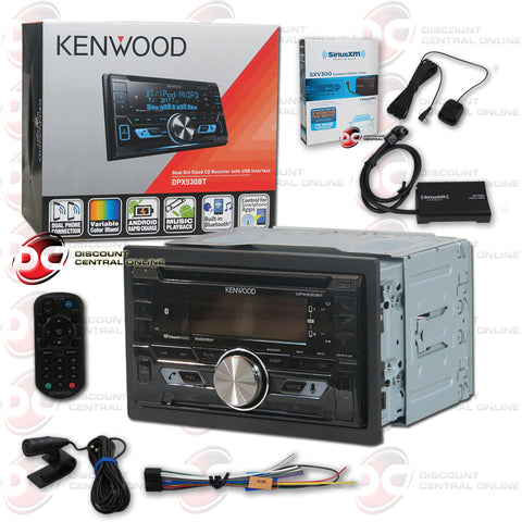 Kenwood DPX530BT 2-Din Car CD Receiver With Bluetooth Plus Sirius XM Connect SXV300V1 Tuner For Satellite Radio