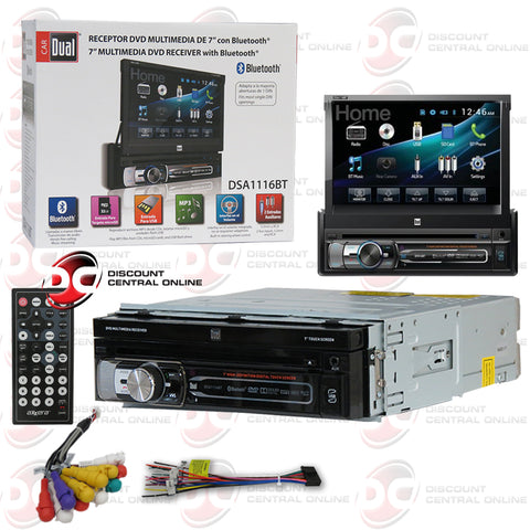 "Dual DSA1116BT 7"" 1-Din Car AM/FM/CD/DVD Receiver With Bluetooth"