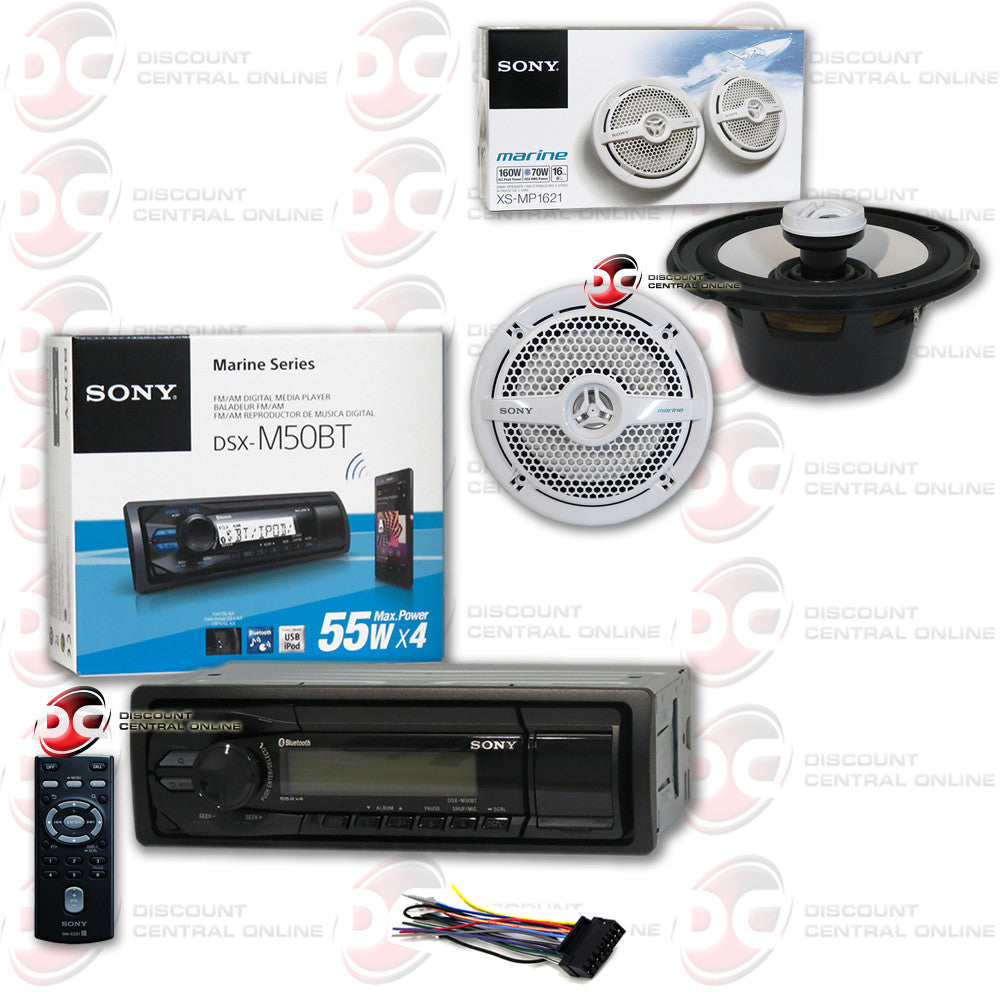 "Sony DSX-M50BT Marine Digital Media Receiver with Bluetooth and Sony XS-MP1621 6.5"" 2-Way Coaxial Marine Speakers"