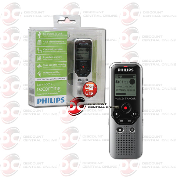 Philips DVT1200 Voice Tracer Voice Activated Audio Recorder (Dark Silver/ Black)