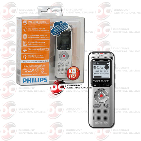 Philips DVT2000 Voice Tracer Audio Recorder (Warm Silver & Black)