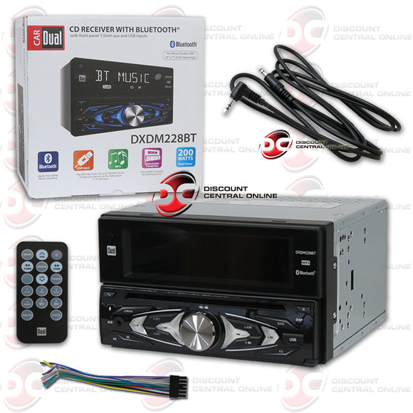 DUAL DXDM228BT 2-DIN MP3/CD/USB/BLUETOOTH CAR STEREO + FREE 3.5mm AUX CABLE