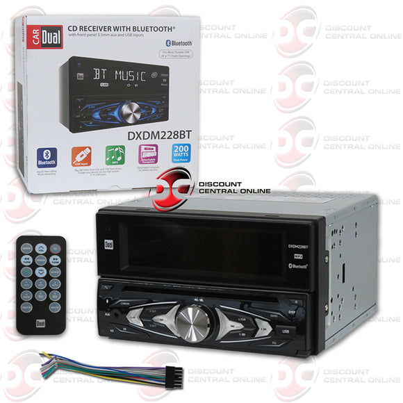 DUAL DXDM228BT 2-DIN MP3/CD/USB/AUX-IN/AM/FM CAR STEREO WITH BLUETOOTH