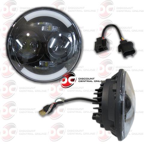 "7"" Round High/Low Projector LED Head Lamp (Fits Jeep Wrangler and Harley Davidson Motorcycle)"