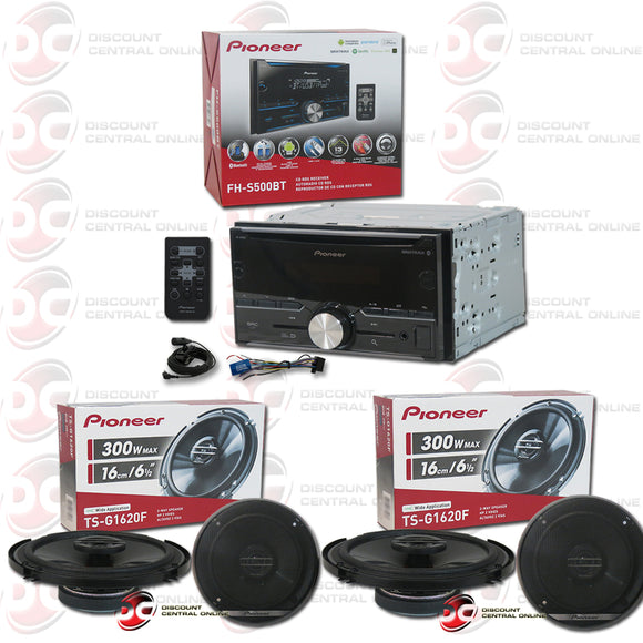 PIONEER FH-S500BT CD CAR STEREO BLUETOOTH W/ PIONEER TS-G1620F 6.5-inch 2-way Coaxial Speakers (2 Pairs)