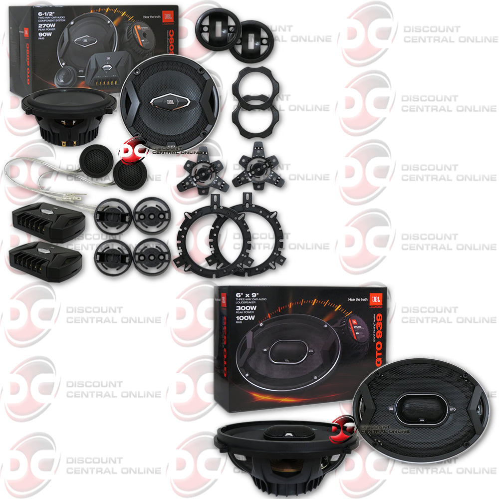 "JBL GTO609C 6.5"" Car Audio 2-way Component Speaker System Plus 6x9"" Car Audio 3-Way Coaxial Speakers"