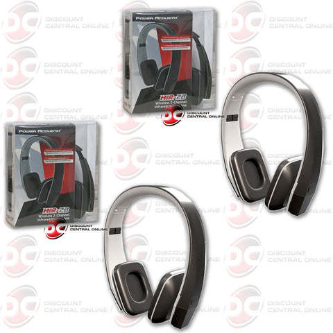 2 x Power Acoustik 2 Channel Infrared Headphone (Black)