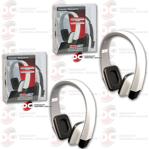 2 x Power Acoustik 2 Channel Infrared Headphone (White)