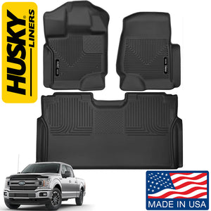 Front Row Floor Liners Fits Select 2015-18 Ford F150 Pickup Plus Husky Liners 2nd Seat Row Floor Liner Fits Select 15-18 Ford F150, F250, F350, F450