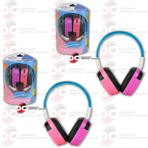 2 X BRAVO VIEW IH-04A KID FRIENDLY AUTOMOTIVE IR WIRELESS HEADPHONES (PINK/PURPLE)