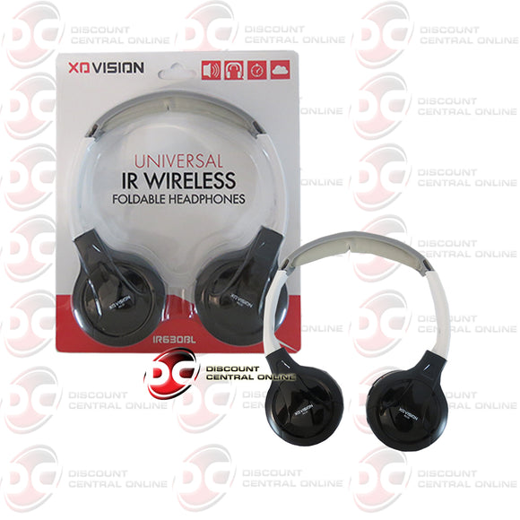 XO VISION BLACK IR630BL UNIVERSAL IR WIRELESS FOLDABLE HEADPHONES (BLACK)