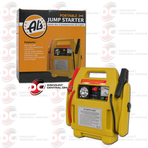 ALS-JS1B 12V 900 Peak AMP 3-in-1 Jump Starter With 300 PSI Air Compressor