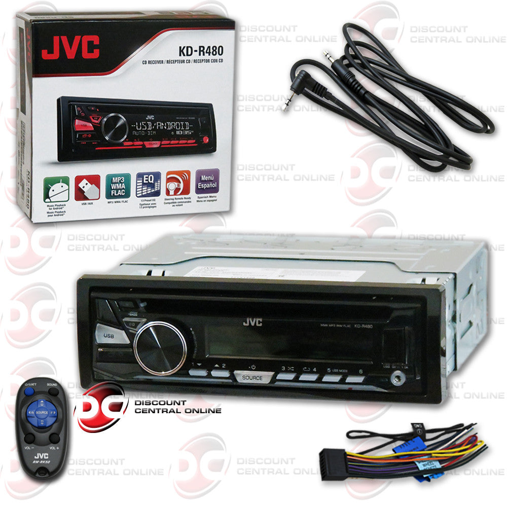 JVC KD-R480 CAR AUDIO RECEIVER WITH CD/AM/FM/USB/AUX CAPABILITY WITH FREE AUX CHORD INCLUDED