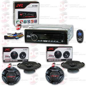 "JVC KD-R480 CAR AUDIO RECEIVER WITH CD/AM/FM/USB/AUX CAPABILITY WITH 4 X JVC CS-DR620  6.5"" CAR AUDIO SPEAKERS"