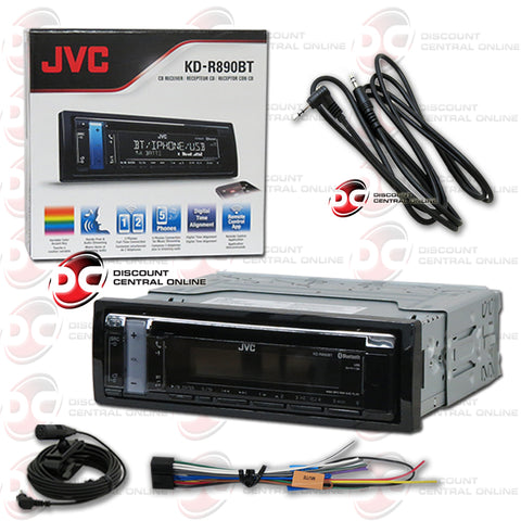 JVC KD-R890BT Single Din Car Audio AM/FM/CD/AUX With Bluetooth Plus IBA-3.5mm Aux Cord