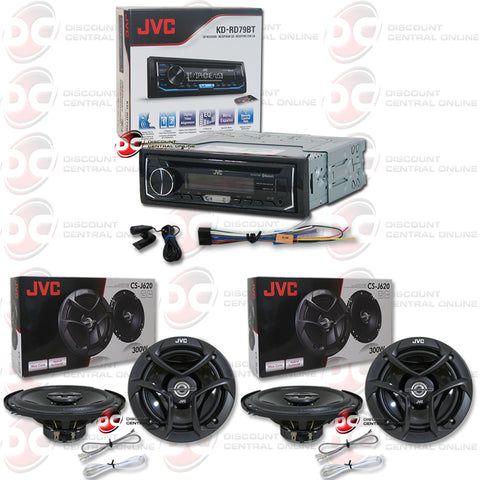 "JVC-KD-RD79BT Single Din Car Audio Stereo With AM/FM/CD/AUX/Bluetooth And Pandora Control Plus 4x 6.5"" Coax Speakers"