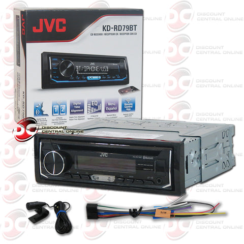 JVC-KD-RD79BT Single Din Car Audio Stereo With AM/FM/CD/AUX/Bluetooth And Pandora Control