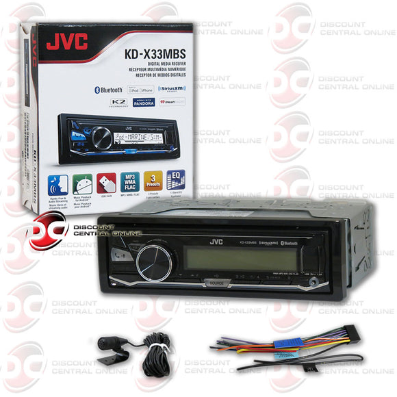 JVC KD-X33MBS Single DIN Marine Grade Bluetooth In-Dash Mechless Car Stereo with FLAC playback and SiriusXM Ready