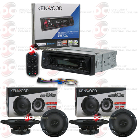 "Kenwood KDC-168U 1-Din Car AM/FM/CD Receiver With Pandora/iheart Radio Plus 6.5"" Speakers (2 Pairs)"