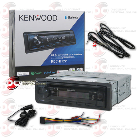 Kenwood 1-Din KDC-BT22 Car CD Receiver with Bluetooth Plus IBA 3.5mm AUX Cord