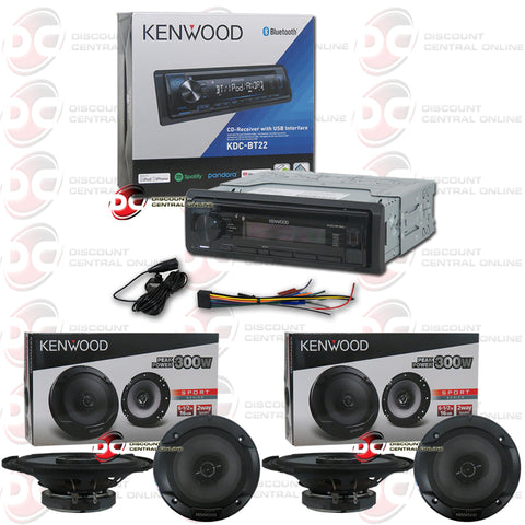 "Kenwood 1-Din KDC-BT22 Car CD Receiver with Bluetooth Plus 4x Kenwood KFC-1666S 6.5"" 2-Way Car Audio Speakers"