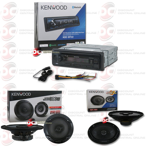 "Kenwood 1-Din KDC-BT22 Car CD Receiver with Bluetooth Plus Kenwood 6.5"" and 6x9"" Car Audio Speakers"