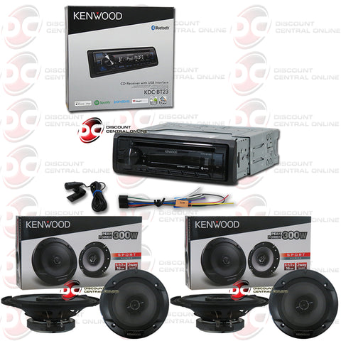 "Kenwood KDC-BT23 Single Din Car Audio Stereo AM/FM/CD/AUX Receiver with Bluetooth Capability And Spotify Control Plus 4 X 6.5"" Speakers"