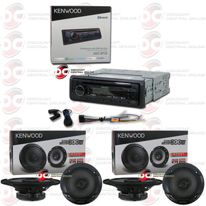 Kenwood KDC-BT33 1-Din Car Stereo AM/FM/CD/AUX Receiver with Bluetooth and  Spotify + Kenwood KFC-1666S 6 5