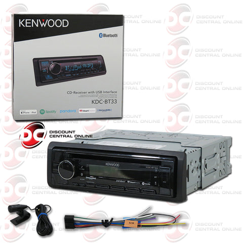 Kenwood KDC-BT33 Single Din Car Audio Stereo AM/FM/CD/AUX Receiver with Bluetooth Capability And Spotify Control