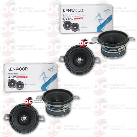 Kenwood KFC-835C 3.5-inch 2-way Car Audio Dual Cone Water Resist Speakers (2 Pairs)