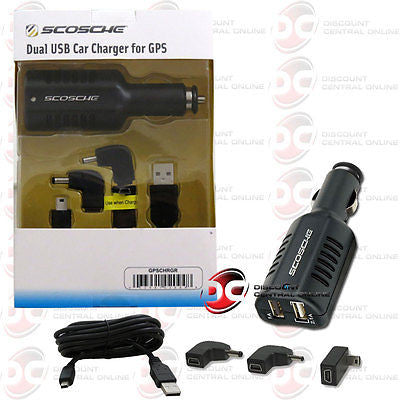 SCOSCHE UNIVERSAL DUAL USB CAR CHARGER W/ SYNC CABLE FOR SELECT APPLE DEVICES