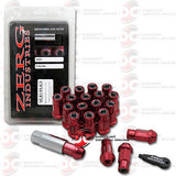 HONDA CIVIC INTEGRA EXTENDED LUG NUTS 12x1.5mm 20pcs WITH CAP AND KEY (RED)