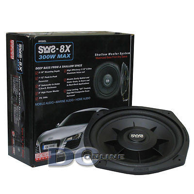 "EARTHQUAKE SWS-8X 8"" 4 OHM SHALLOW MOUNT CAR SUBWOOFER"