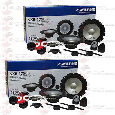 "4 x Alpine SXE-1750S 6.5"" Car Audio Speakers"