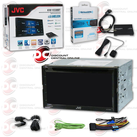 "JVC KW-V330BT 2DIN 6.8"" CD DVD receiver with Bluetooth and  Sirius XM Connect SXV300V1 Tuner for Satellite Radio"