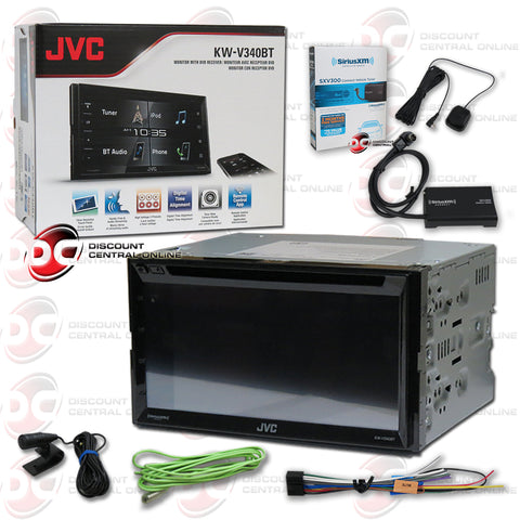 "JVC KW-V340BT 2-Din 6.2"" Car CD/DVD Receiver with Bluetooth and Android/Apple Control Plus Sirius XM Connect SXV300V1 Tuner for Satellite Radio"