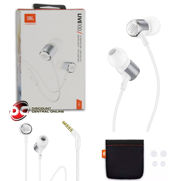 JBL LIVE 100 SIGNATURE SOUND WIRED EARPHONES IN-EAR HEADPHONES (WHITE)