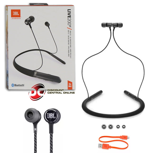 JBL LIVE 200BT BLUETOOTH WIRELESS EARPHONES IN-EAR NECKBAND HEADPHONES