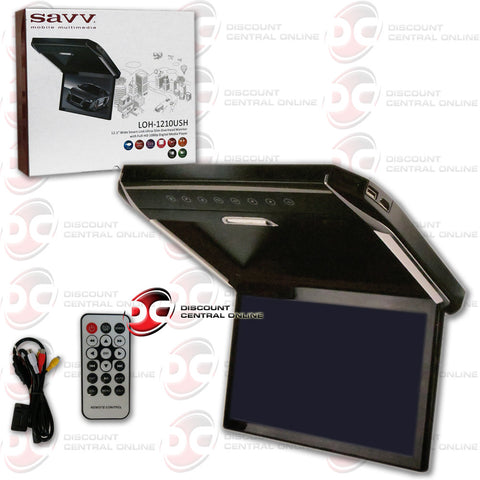 "SAVV LOH-1210USH 12.1"" WIDE SMART-LINK ULTRA-SLIM OVERHEAD MONITOR WITH FULL-HD 1080P DIGITAL MEDIA PLAYER"