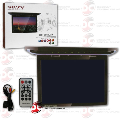 "SAVV LOH-1560USH 15.6"" WIDE SMART-LINK ULTRA-SLIM OVERHEAD MONITOR WITH FULL-HD 1080P DIGITAL MEDIA PLAYER"