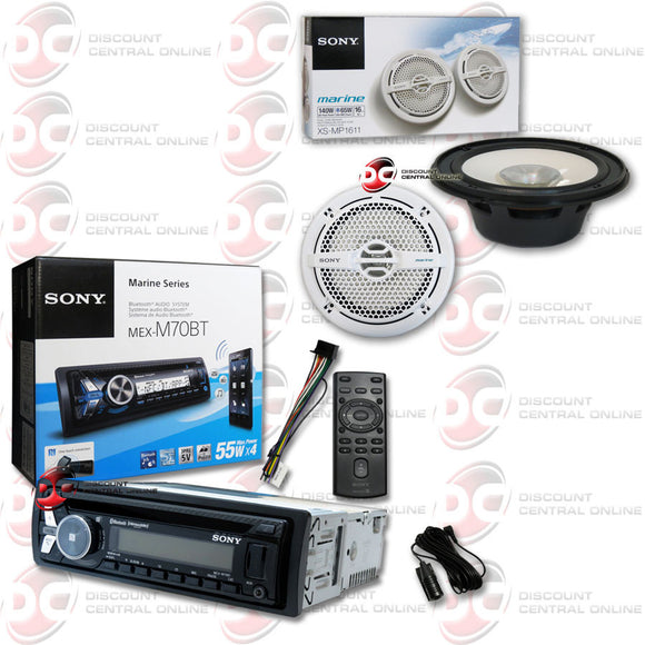 Sony MEX-M70BT 1DIN Marine Boat MP3 CD Stereo with Bluetooth, iPod, AUX, USB, and NFC + Sony XS-MP1611 6.5
