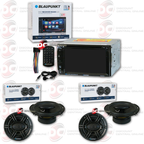 "Blaupunkt Miami 620 6.2"" Media Receiver with CD/DVD/AUX/USB/SD/AM/FM/Bluetooth Capability and 4 x Blaupunkt GTX650 6.5"" Car Audio Speakers"