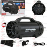 "MAX POWER MPD652BZ 6.5"" PORTABLE FM USB BLUETOOTH TUBE PARTY SPEAKER WITH BELT & LED"