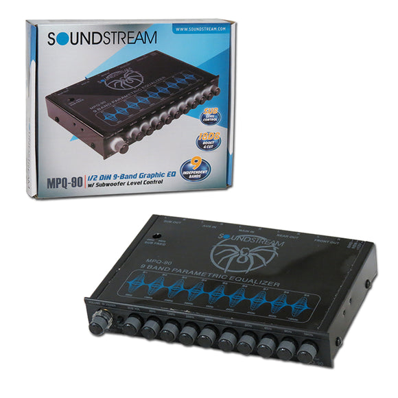 Soundstream MPQ-90 9-Band Car Equalizer W/ Built-in Pre-amp & Sub Control
