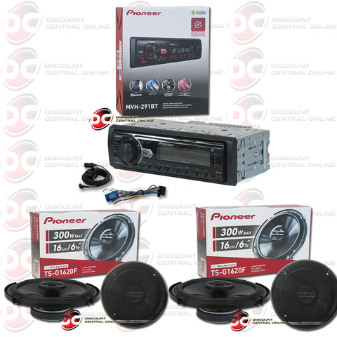 PIONEER MVH-291BT SINGLE DIN CAR AUDIO STEREO WITH MP3/AM/FM/USB/AUX/BLUETOOTH + PIONEER-TS-G1620F-[2 PCS]