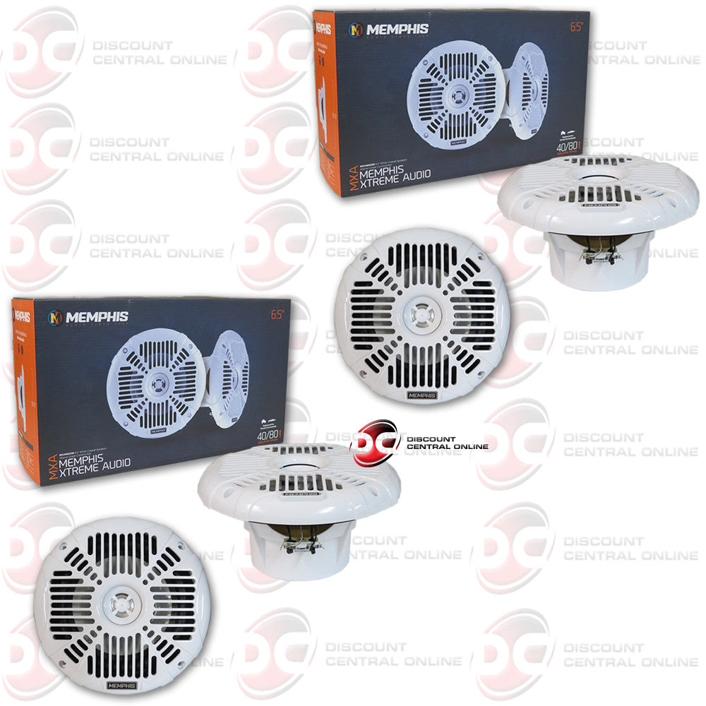 "4 x MEMPHIS AUDIO MXA602SW 6.5""MARINE AUDIO SPEAKERS (WHITE)"