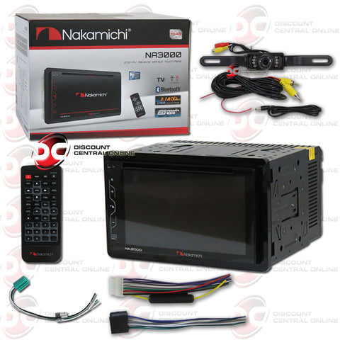 "Nakamichi NA3000 2-Din 6.2"" Car AM/FM/CD/DVD Receiver With Bluetooth (With Back-up Camera)"