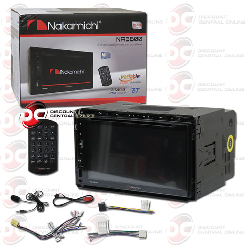 "Nakamichi NA3600 2-Din 6.8"" Car AM/FM/CD/DVD Receiver With Bluetooth"