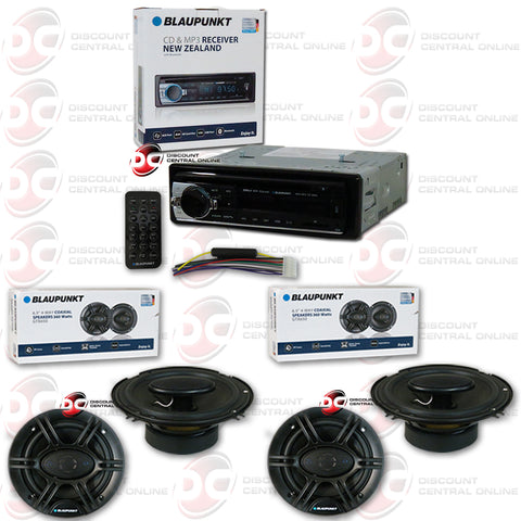 Blaupunkt New Zealand 1-Din Car CD/MP3 Receiver with Bluetooth Plus 6x5 Blaupunkt GTX650 (2 Pairs)