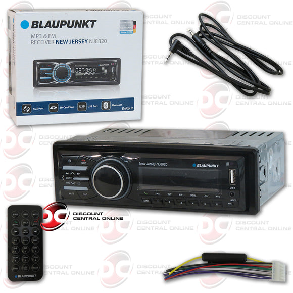 Blaupunkt NJ8820 Single Din Car Audio Stereo With AM/FM/CD/AUX Bluetooth Capability (Does Not Play Cd's)+IBA-3.5mm
